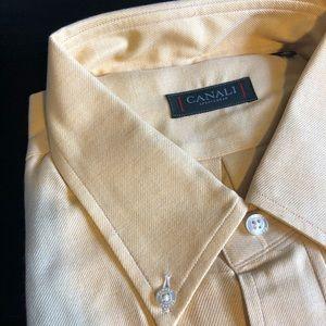 Canali Men's Modern Fit Sportswear Shirt Gold